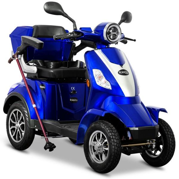 Rolektro Elektroroller Vierrad E-Quad 25, Blau, 60V-20Ah Bleigel Akkus, 1000 Watt